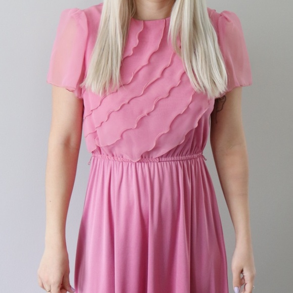 Vintage Dresses & Skirts - 70's Pink Ruffle Breast Dress with Sheer Sleeves